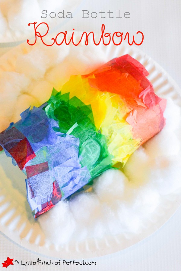 Rainbow Soda Bottle Craft for Kids: An easy and cute recycled craft to make with kids using tissue paper and glue.