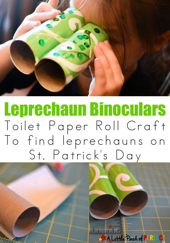 Leprechaun Binoculars Toilet Paper Roll Craft : Easy St. Patrick's Day Craft for Kids
