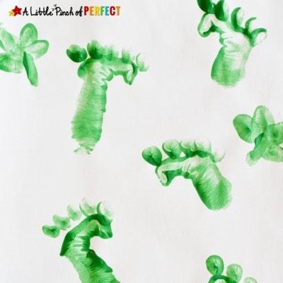 St. Patrick's Day Leprechaun Tracks Handprint Craft for Kids
