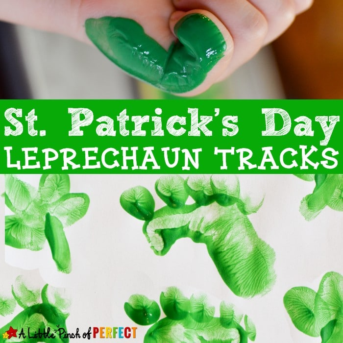 Kids can make wee little Leprechaun tracks as they craft this St. Patrick's Day using their hands as a footprint stamp. (March, Kindergarten, Preschool, Handprints)