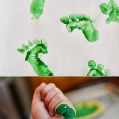 Leprechaun Feet Kids Handprint Painting