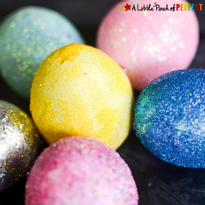 Glitter Those Easter Eggs: Easy Decorating Idea for Kids and adults who like glitter. They turn out so pretty and you don't need a cup of dye.