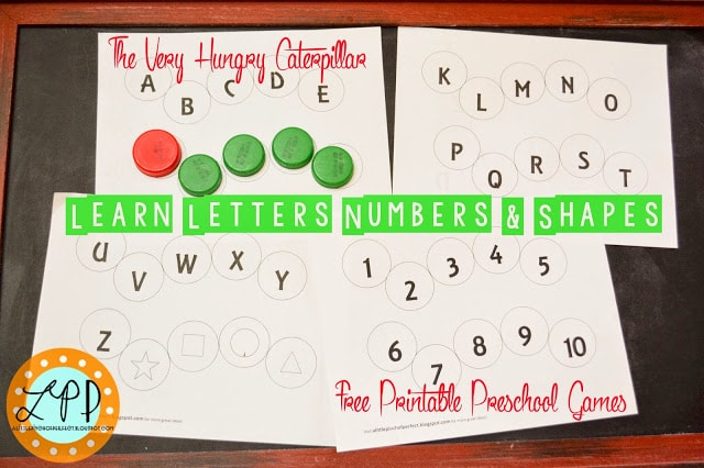The Very Hungry Caterpillar Preschool Games-Letters, Numbers, & Shapes Free Printable
