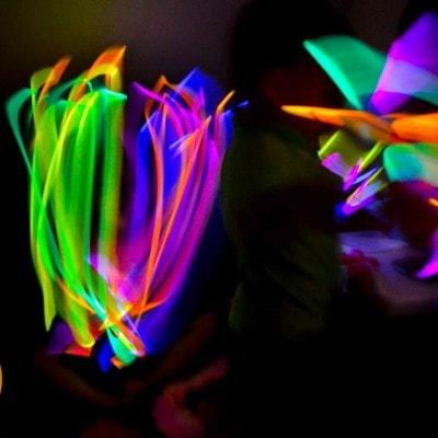 Glowing Ninja Stars and Glowing Flowers