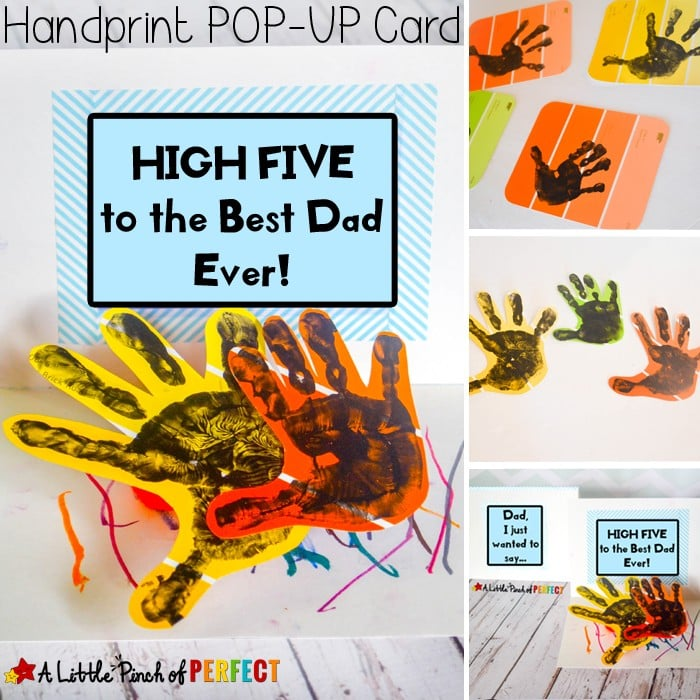 Give Me A High Five Handprint Father's Day Card: A fun and cute homemade card for kids to make for Dad and Grandpa. Hands pop-up to give dad a high five when he opens the card.