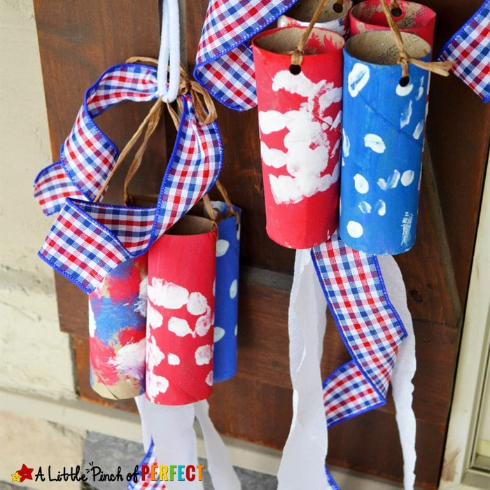 Patriotic Windsock Toilet Paper Roll Craft for Kids: Adorable red, white, and blue craft for the Fourth of July, Flag Day and Memorial Day (kids craft, handprints, cardboard tubes)