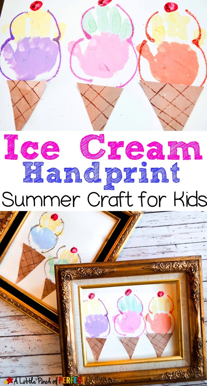Ice Cream Handprint Craft for Kids: An adorably sweet craft to make with the kids. (summer, spring, paint, kids craft)