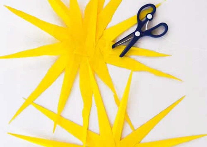 Paper Sun Craft for Kids (summer, scissor practice)