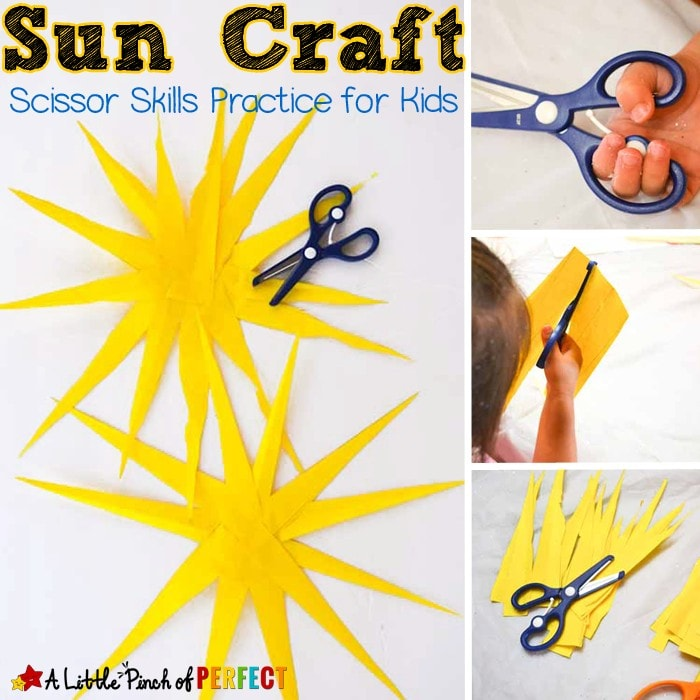 Paper Sun Craft for Kids (summer, scissor practice)
