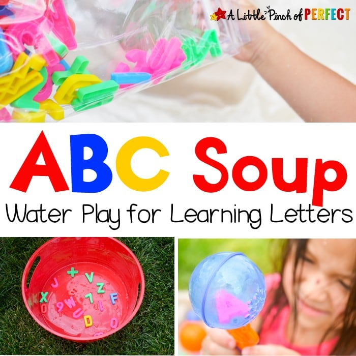 ABC Soup Water Play for Learning Letters (preschool, toddler, summer, alphabet, sensory play)