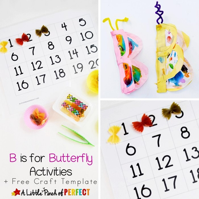 LETTER OF THE WEEK A-Z SERIES: B is for Butterfly Craft and Activities including a free letter B craft printable