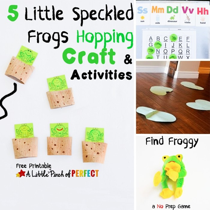 Five Little Speckled Frogs Craft and Activities: Including learning activities, gross motor play, and a toilet paper roll craft template that makes hopping frogs