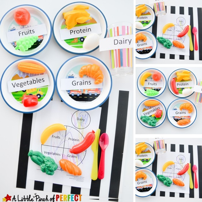 Learning about Food Groups: Nutrition Activity for Kids + Free Printable (My Plate, About me, Preschool, Kindergarten)
