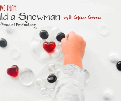 Build a Snowman with Glass Gems Creative Winter Play