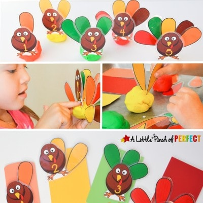 Turkey Feather Count & Sort Playdough Game & Free Printable