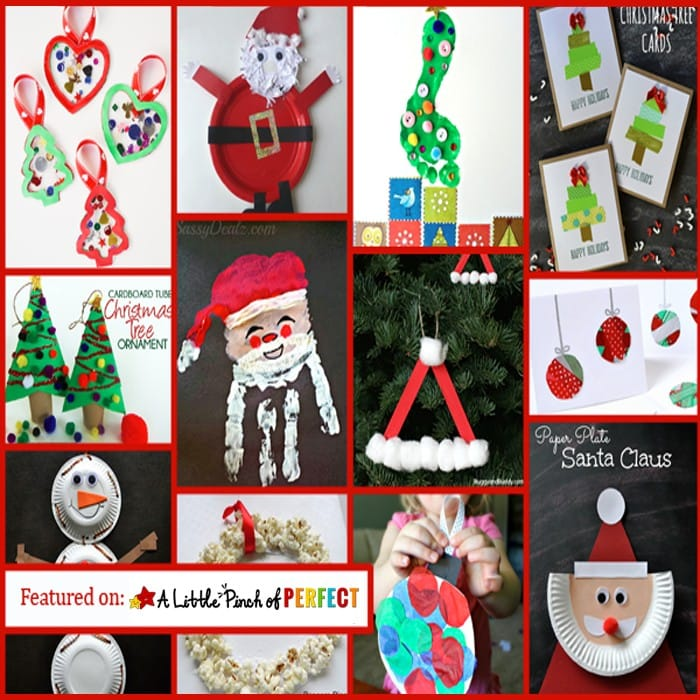 35 Easy Christmas Crafts for Kids: Including Santa, Christmas trees, snowmen, ornaments, and more.