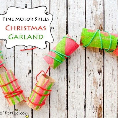 Kid Craft: Christmas Garland with Recycled Toilet Paper Rolls