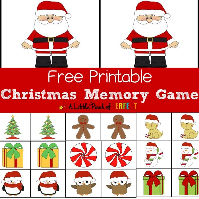 Christmas Printable Memory Game-Fun for kids to play as they increase concentration, visual and cognitive skills (preschool, Kindergarten, First Grade, December)