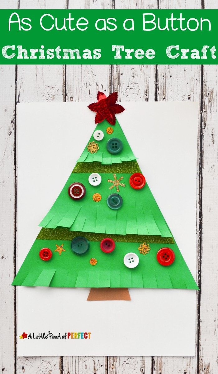 As Cute as a Button Christmas Tree Craft for Kids: Easy to make decoration or homemade card