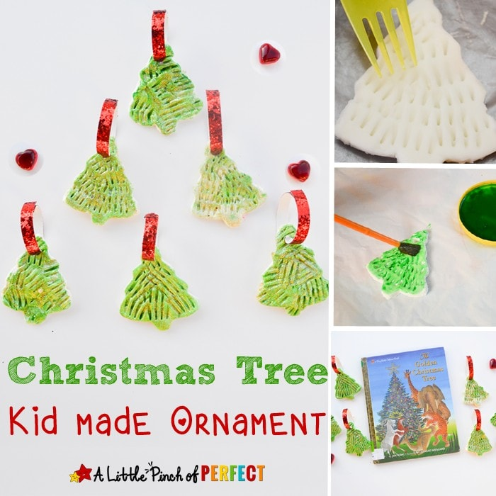 Golden Glitter Christmas Tree: How to make a homemade clay ornament craft with kids: Step by step directions on how to make this adorable ornament that looks so pretty on the Christmas tree (winter, kids craft, book extension)