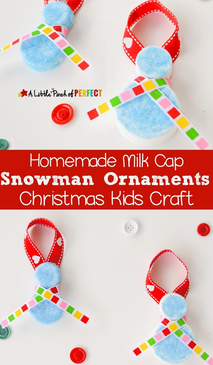 Homemade Milk Cap Snowman Ornaments: Christmas Kids Craft that's easy and inexpensive (Winter, December, Recycled)