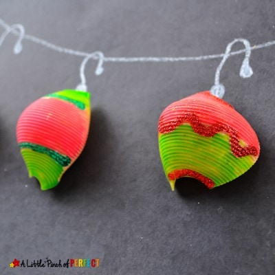 Grinch Inspired Christmas Ornament Craft with Noodles