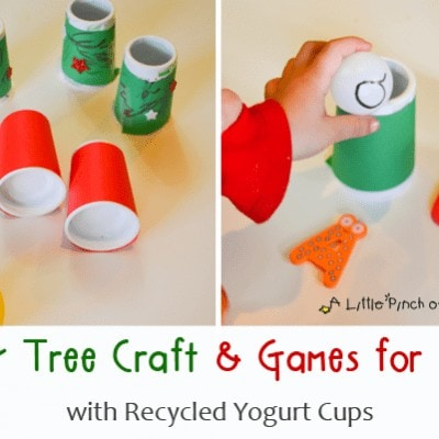 Easy Tree Craft & Games for Kids with Recycled Yogurt Cups