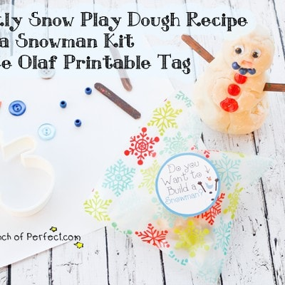 Sparkly Snow Play Dough Recipe + Free Build a Snowman Olaf Printable