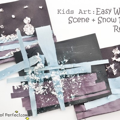 Kids Art: Easy Winter Scene + Snow Paint Recipe