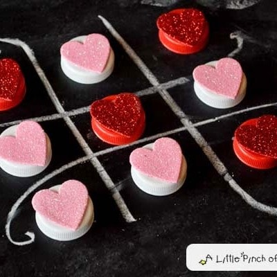 Homemade Valentine's Heart Tic Tac Toe Game