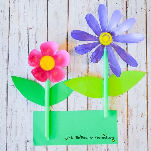 Recycled Soda Bottle Flower Craft for Kids
