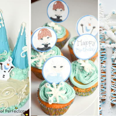 DIY Frozen Winter Snowflake Cake, Cupcakes, & Wand + Free Printable