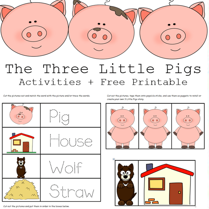 The 3 Little Pigs Free Printable Activities for Preschool or Kindergarten