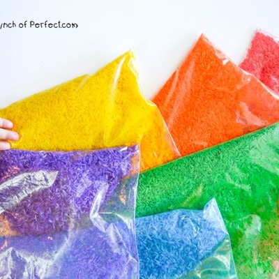 Sensory Play: How to Make Rainbow Rice that Smells Good! (Alcohol free recipe)