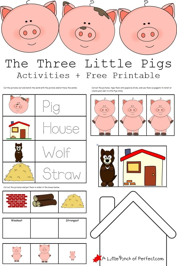 The Three Little Pigs Activities and Free Printables that are perfect for hands on learning. Kids can also practice sequencing, pre-writing, make stick puppets to retell the story, and color and design their own house to keep the big bad wolf out.