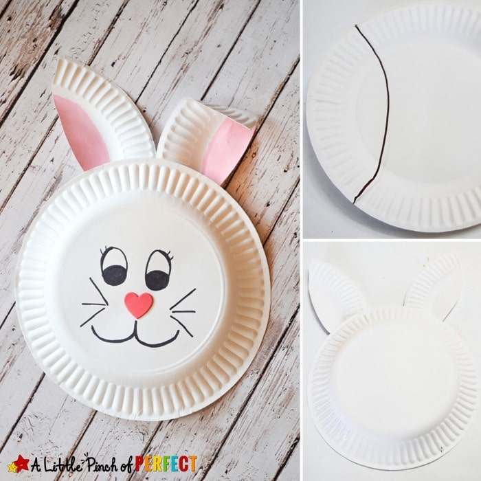 Paper Plate Bunny Rabbit Craft for Kids: Perfect for spring, Easter, or crafting after enjoying a bunny book with the kids