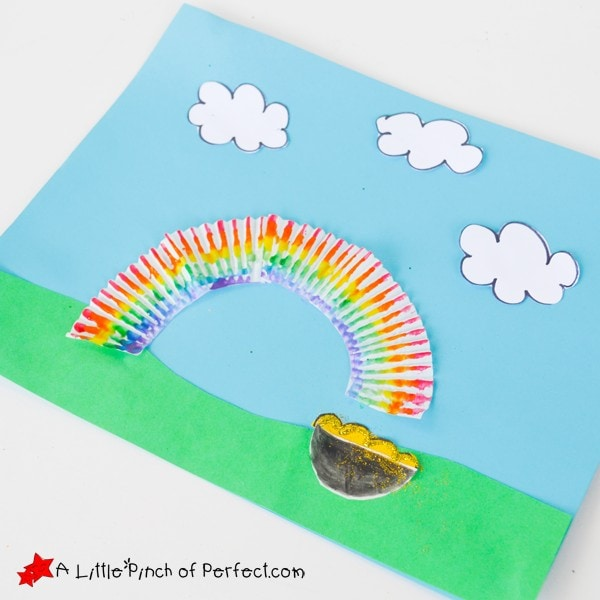 St. Patrick's Day Rainbow and Pot of Gold Cupcake Liner Craft for Kids
