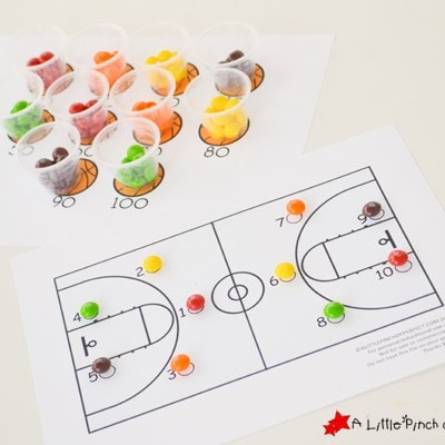 Keeping Score with Skittles! Counting to 100 Basketball Game Free Printable
