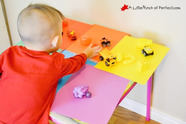 Fun and Easy Color Sorting Activity for Toddlers: Send kids on a color hunt to find colorful toys and objects from around the house and sort them by color.