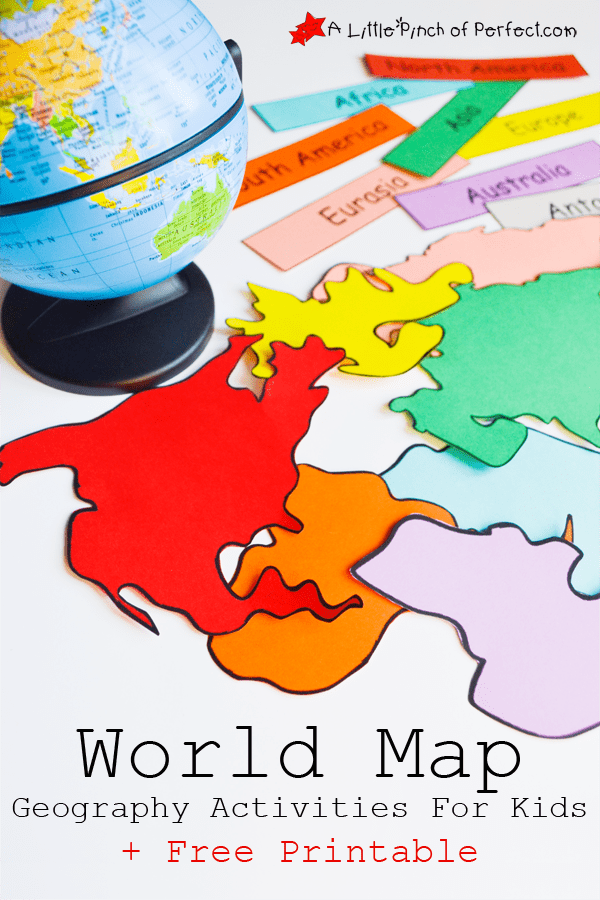 world map activities and free printable that can be used as coloring pages for the continents - Kids Images Free