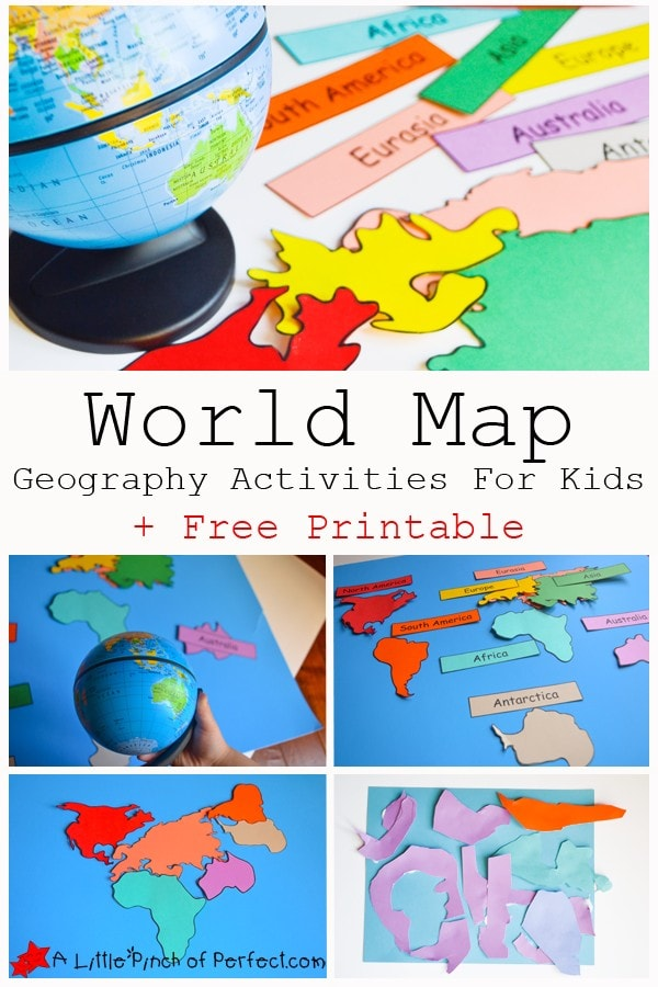 World Map activities and free printable that can be used as coloring pages for the continents as well as labels for matching and reading