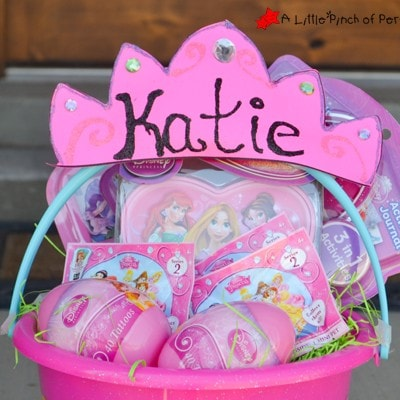 Disney Princess Personalized Easter Basket + Free Princess Crown Template