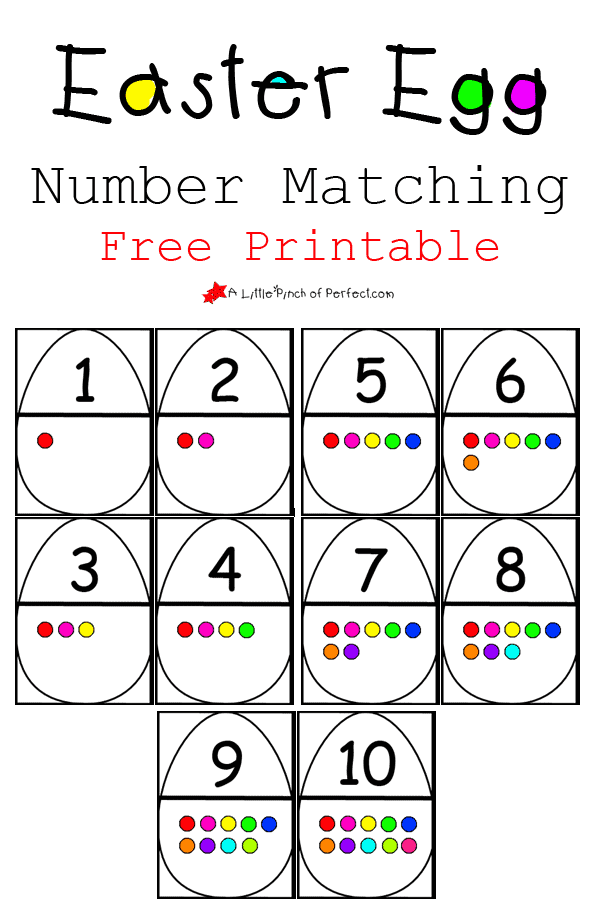 Easter Egg Number Matching Free Printable: Number recognition, counting, and subitizing