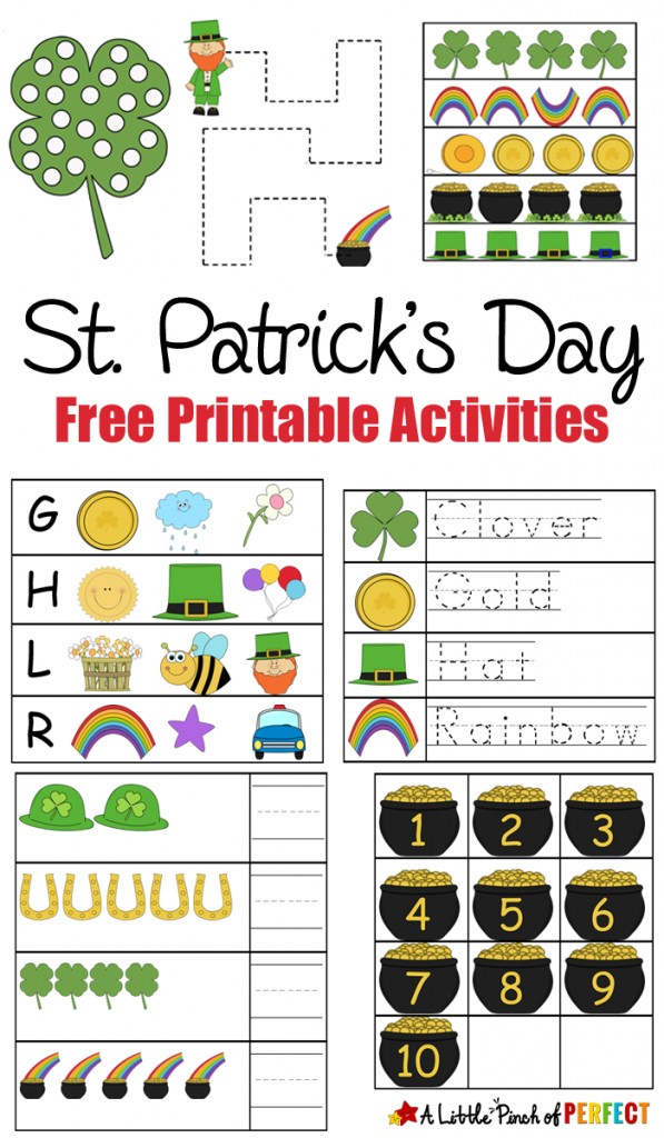 St. Patrick's Day Free Printable Activities: Print and learn activities for kids including numbers, pre-writing, do-a-dot pages, and coloring with leprechauns, pots of gold, and rainbows.
