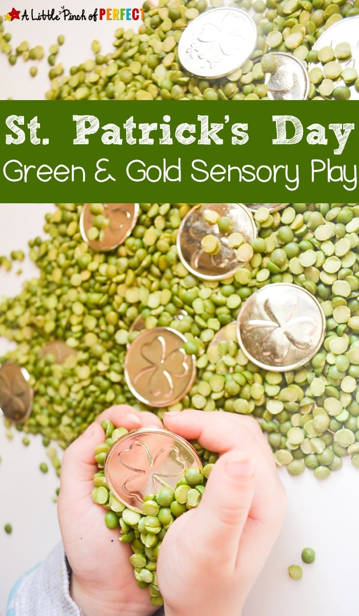 St. Patrick's Day Green & Gold Sensory Play:An easy and mess free St. Patrick's Day Sensory activity for kids (March, Preschool, Play)