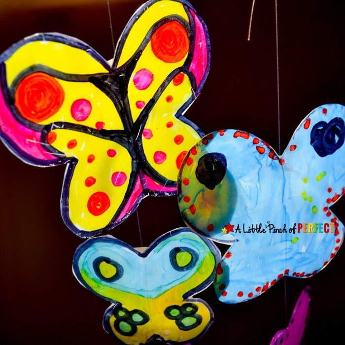 Stained Glass Butterfly Milk Carton Kids Craft: Kids can make colorful butterfly's that seem to glow in the sun. A perfect idea for butterfly fans, bug unit, or spring crafting.