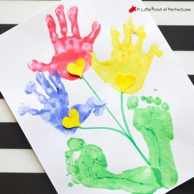 Handprint and Footprint Flower Craft for Kids