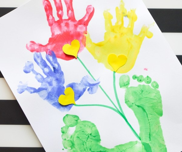 Handprint and Footprint Flower Craft for Kids: Perfect for spring flowers, Mother's Day, and keepsake handprint and footprint crafts