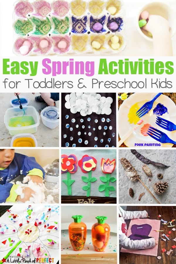 Easy Spring Activities for Kids (toddler and preschool): nature crafts, flowers, weather, bugs, and activities that can be enjoyed outside