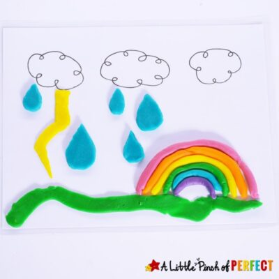 Kids will have so much fun decorating these spring themed playdough mats including bugs, flowers, and more. The printables are created to spark imagination and creativity. (#Preschool #playdough #kidsactivity #kidsfun)